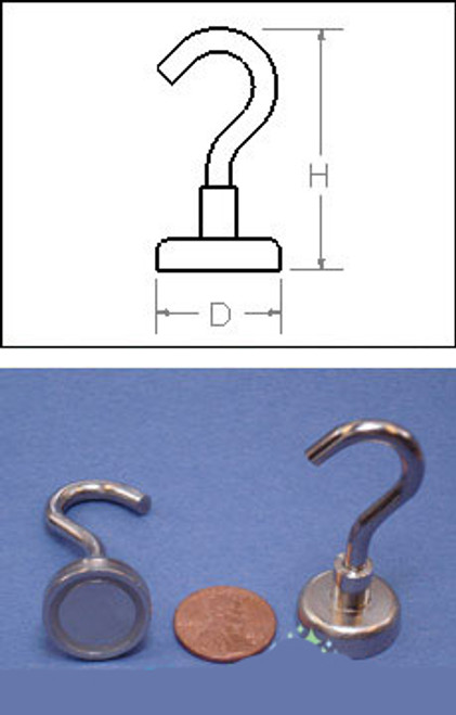 """Heavy Duty Mounting Magnet With Open Hook - Holds 50 pounds - 1 1/4"""" - Set of 2"""