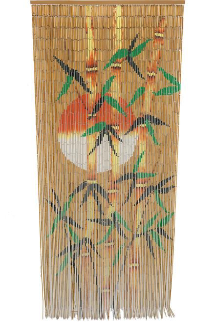 Bamboo Painted Curtain Orange Sun Silhouette Door Beads
