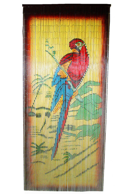 Parrot Bamboo Painted Beaded Curtain