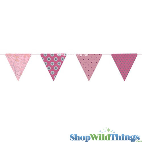 SALE ! Bunting -  Paper Triangle -  Pink Glitter - 11 Feet Long