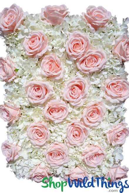"Flower Wall 19"" x 25 1/2"" Premium Silk Roses & Hydrangeas - Blush Pink & Ivory"