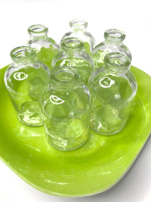 Flower Cutting Holder - Green Plate & 7 Glass Bottles