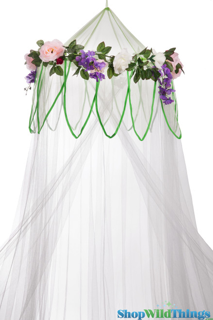 """BOGO Canopy """"Fairytale"""" White With Flower Garland Mosquito Net"""