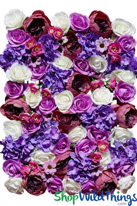 """Flower Wall 19"""" x 26"""" Premium Silk Floral Mix - Purples & Pinks"""