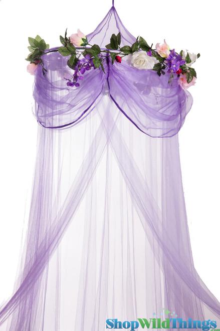 "Canopy ""Sleeping Beauty"" Purple With Flower Garland Mosquito Net"