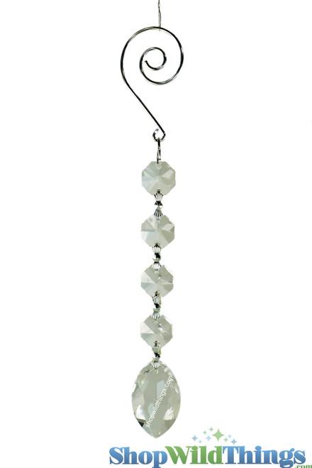"""Crystal Hanging Prism, Glass - Crystal Strand 6.5"""" - """"Elizabeth"""" Set of 12 - Crystal"""
