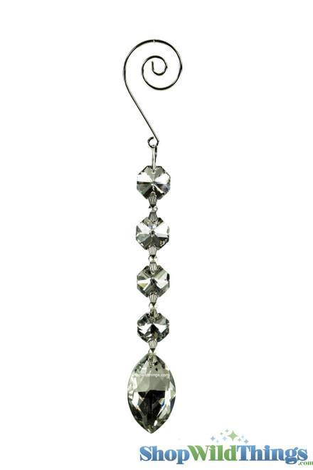 """Crystal Hanging Prism, Glass - Crystal Strand 6.5"""" - """"Elizabeth"""" Set of 12 - Silver"""
