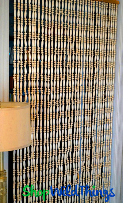 "Wooden Bead Curtain ""California"" Natural - Extra Heavy - 35 strands - As Seen at Disney!"