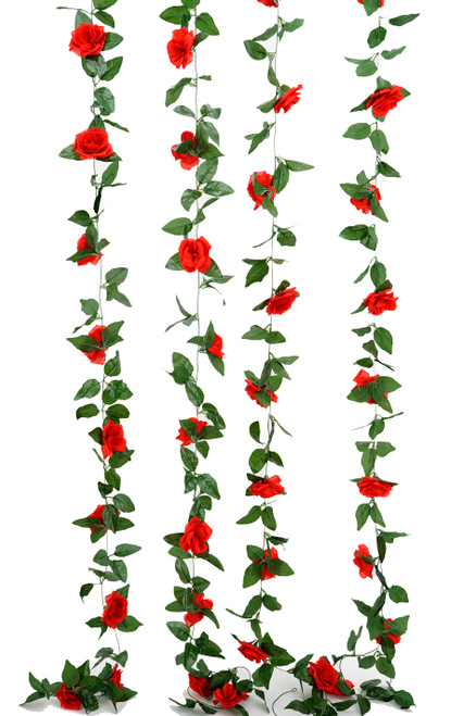 Flower Garland - Silk Rose - 8' - Red - BUY MORE, SAVE MORE!