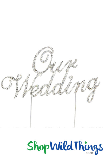 """SALE ! Real Rhinestone Cake Topper Silver """"Our Wedding"""""""
