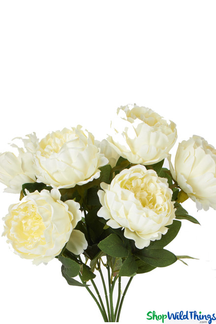 """Silk Cabbage Rose Bush - Ivory Spray - 20"""" Tall - BUY MORE, SAVE MORE!"""