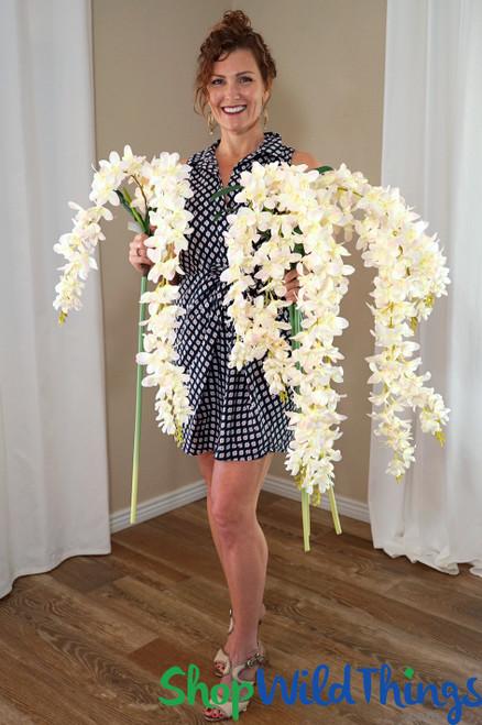"Super Premium Cascading Silk Flowers - 66"" Blush Pink & Ivory"