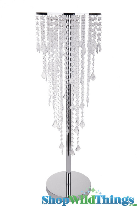 """5 Tier 36"""" Crystal & Chrome Table Chandelier Centerpiece With Stand """"The Plaza"""""""