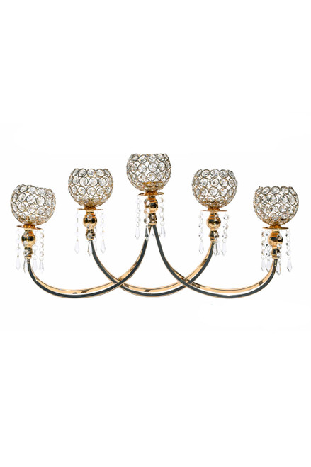 "Beaded Real Crystals 5 Cup Gold ""Prestige"" Candelabra - 26"""