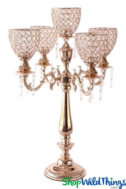 "Real Crystal Beaded 5 Arm Gold ""Prestige"" Candelabra - 29"" Tall"