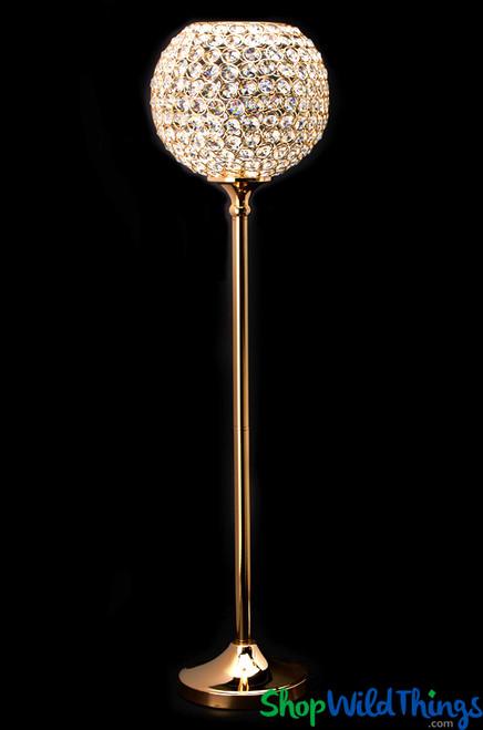 "Beaded Real Crystals Candle Holder - Goblet - ""Prestige"" - 37"" Gold - BUY MORE, SAVE MORE!"