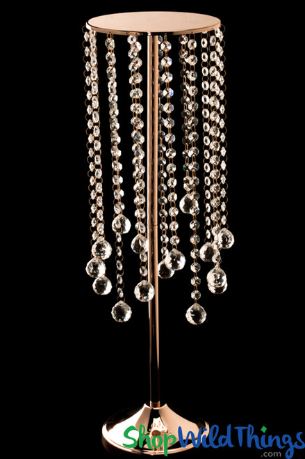 "Real Crystal Beaded Cake Stand/Riser ""Allesandr"" Gold - 26 1/2"" - Prestige Collection"