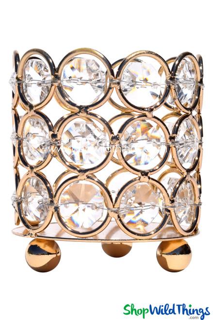 """Candle Holder - Cylinder Beaded Real Crystal - """"Prestige"""" - Crystal Gem Votive - 2 3/4"""" Gold"""