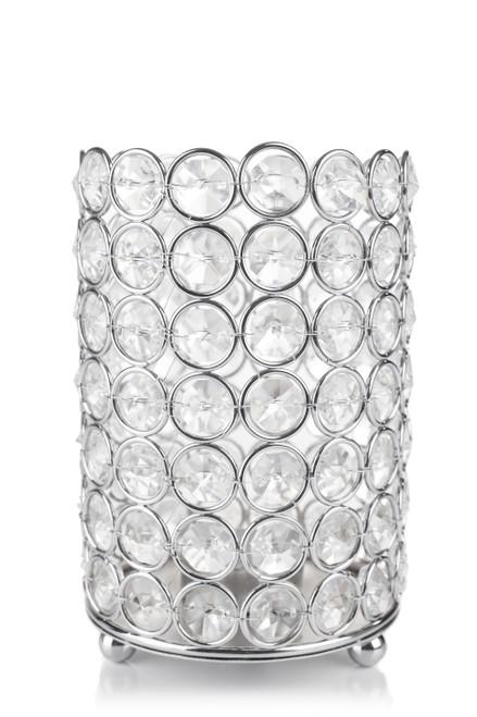 """Candle Holder - Cylinder Beaded Real Crystal  - """"Prestige"""" - Crystal Gem Pillar -  6"""" Silver - BUY MORE, SAVE MORE!"""