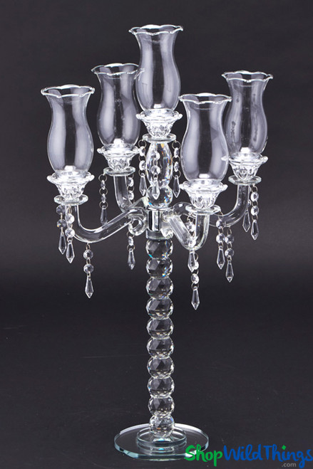 """Real Crystal 5 Arm Candelabra """"Muret"""" - 26"""" Tall - BUY MORE, SAVE MORE!"""