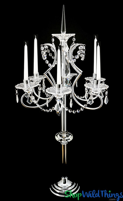 "Real Crystal & Chrome 6 Arm Candelabra ""Nicoline"" - Over 3' Tall - Optional Top Spire"