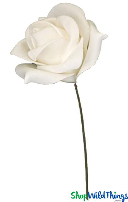 """Real Feel Foam Rose - White - 7"""" Flower, 15"""" Stem"""