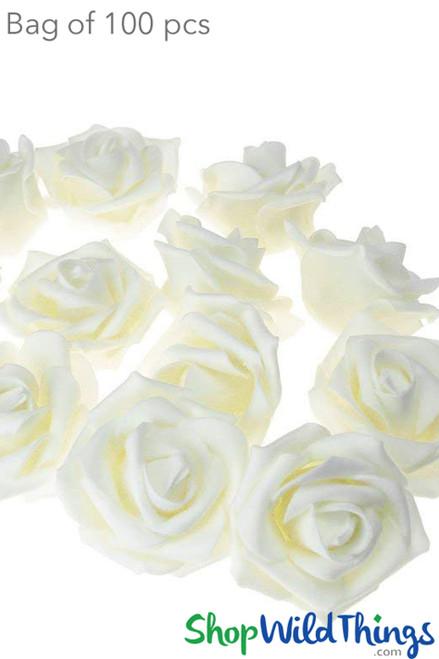 """Real Feel Foam Roses 2.5"""" - Ivory - 100Pcs (Floating!)"""