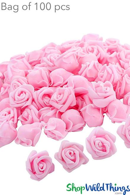"""Real Feel Foam Roses 2.5"""" - Pink - 100Pcs (Floating!)"""
