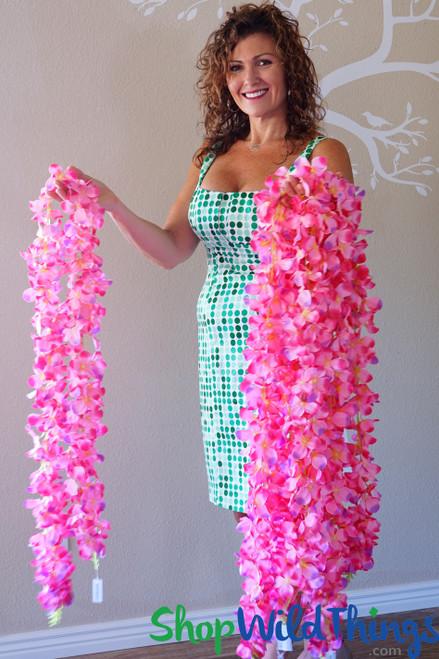 "Plumeria Garland ""Wanika"" Extra-Full 74"" - Multi-Pink"