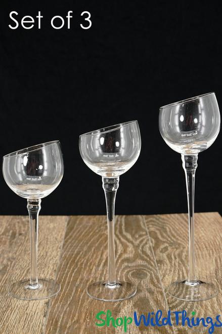 "Tall Bias Cut Glass Candle Holders - Set of 3 - Long Stem - 8"", 9"", 10"""