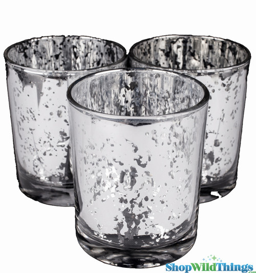"""Mercury Glass Candle Holders - Round """"Leslie"""" Silver - Set of 12 - 3"""" x 3"""""""