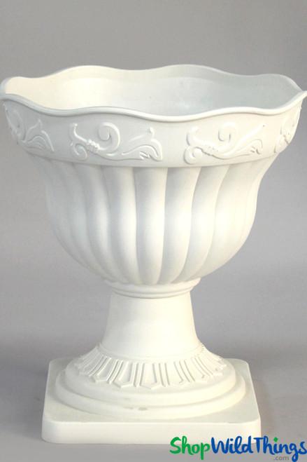 """Grecian Planter & Urn - Scalloped Rim - White 14"""""""