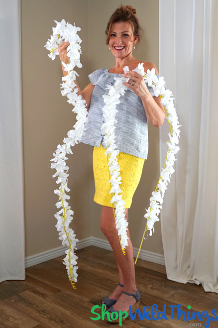 Plumeria Frangipani Silk Flower Garland - White - 6.6' Long - Bendable Wire