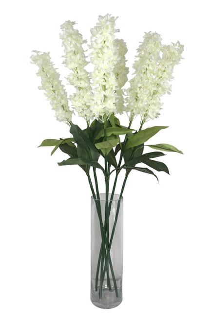 "Plumeria Spray - Bendable Silk Flower Bloom - Ivory 46"""