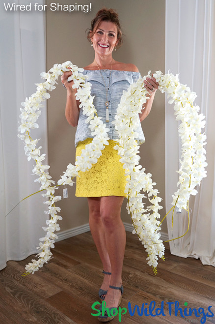 Flower Garland - Extra Fancy Off White Silk Plumeria - Over 7' Long - Bendable Wire