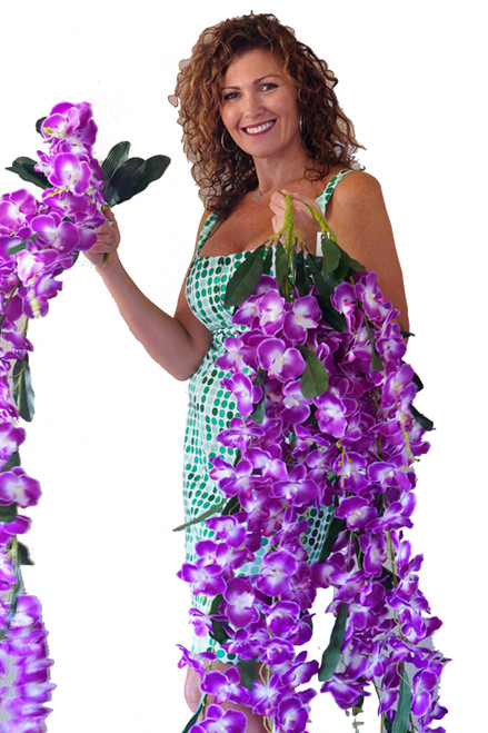 "Orchid Floral Spray ""Mahina"" - Oversized & Dangling 52"" - Natural Look Purple & White"