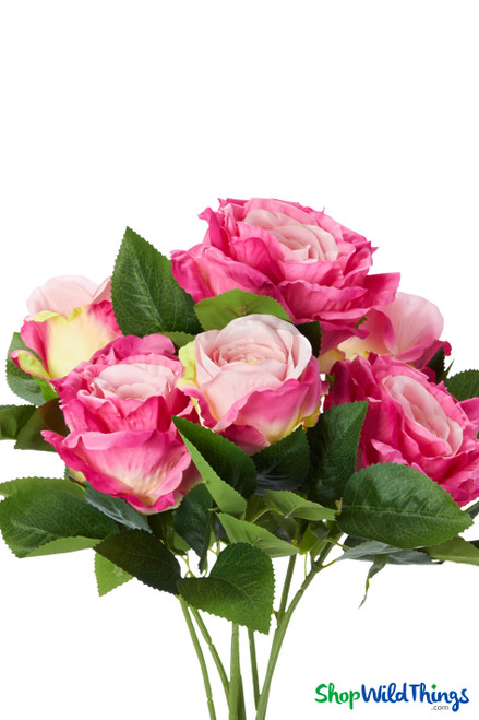 """Silk Rose Bouquet - Fuchsia Pink Spray - 21 1/2"""" - 7 Heads - BUY MORE, SAVE MORE!"""