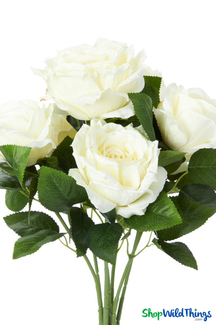 """Silk Rose Bouquet - Ivory Spray - 21 1/2"""" - 7 Heads - BUY MORE, SAVE MORE!"""