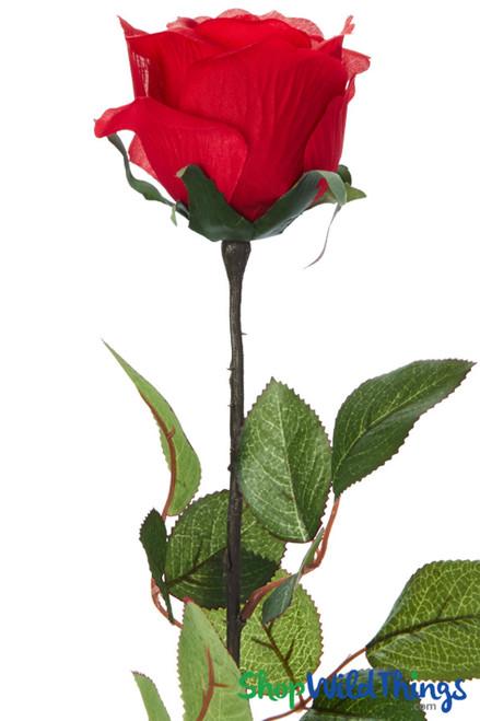 "Silk Rose Bud - Red - 27 1/2"" - BUY MORE, SAVE MORE!"
