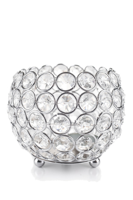 "Candle Holder - Round Beaded Real Crystal Votive -  ""Prestige"" -  5"" Silver"
