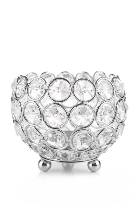 """Candle Holder - Round Real Beaded Crystal Votive -  """"Prestige"""" -  4"""" Silver - BUY MORE, SAVE MORE!"""