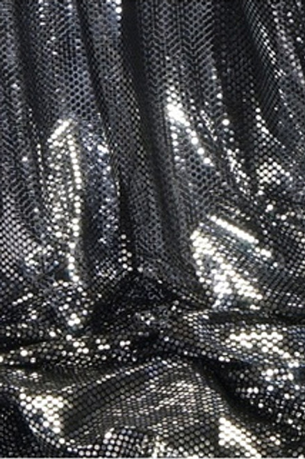 """""""Ritzy Round"""" Spangles - Black & Silver - Fabric 44"""" x 5 yards"""