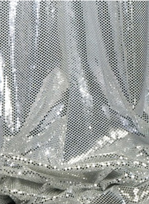 """Ritzy Round Spangles White & Silver  - Fabric 44"""" x  5 yards"""