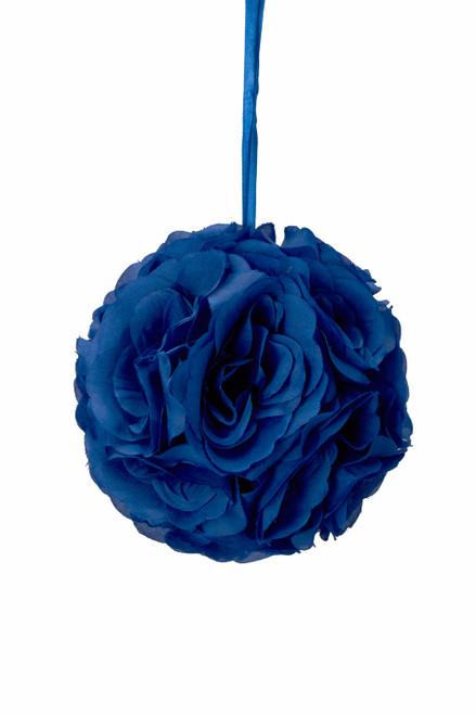 """Flower Ball - Silk Rose - Pomander Kissing Ball 6"""" - Royal Blue"""