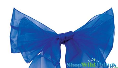 "BOGO Chair Bow/Table Runner Fabric 9"" x 10 ft - Sheer Royal Blue Organza -  6 Pc Set"