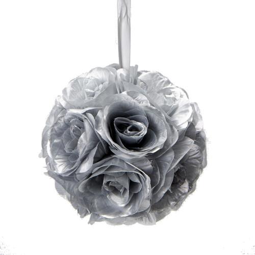 "Flower Ball - Silk Rose - Pomander Kissing Ball 6"" - Silver - BUY MORE, SAVE MORE!"