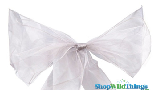 """BOGO Chair Bow/Table Runner Fabric 9"""" x 10 ft - Sheer Silver Organza -  6 Pc Set"""