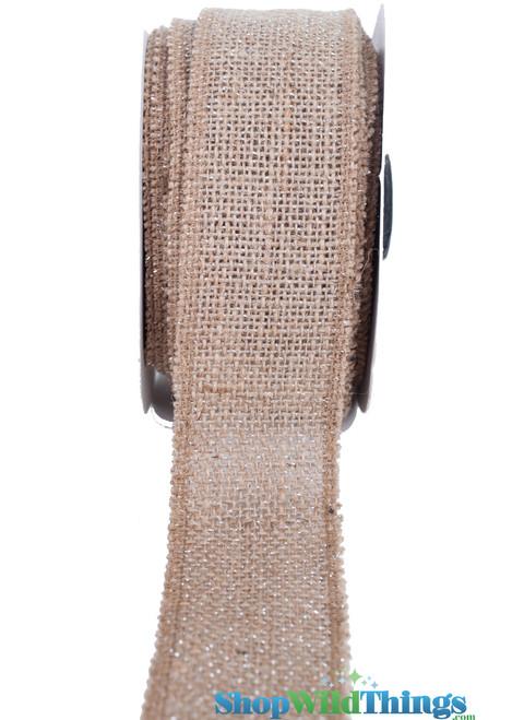 """BOGO Burlap Ribbon with Silver Metallic Zari Thread - 1.5"""" x 10 yards"""
