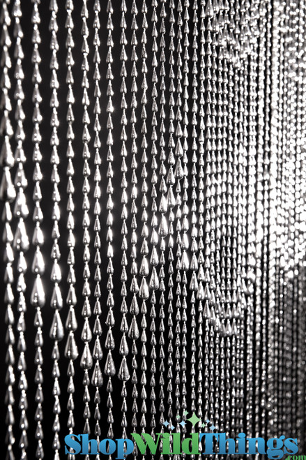 COMING SOON! Raindrops Beaded Curtain - Silver - 3 ft x 6 ft