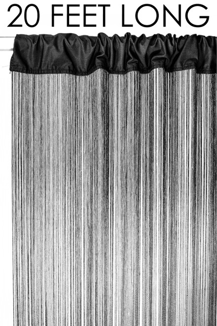 Black String Curtain Fringe Panel for Doors and Windows, 20' Long Rod Pocket Curtain Backdrop by ShopWildThings.com